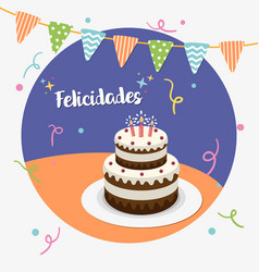 happy birthday party spanish greeting card vector image