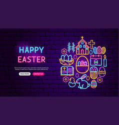 Happy easter neon banner design vector