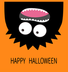 happy halloween card monster head silhouette two vector image