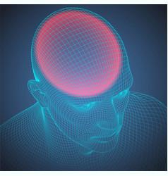 headache wire frame human head vector image