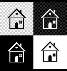 house icon isolated on black white and vector image