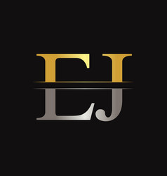 initial ej letter linked logo business template vector image