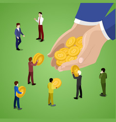 Isometric business people with bitcoins vector