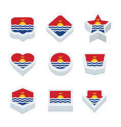 Kiribati flags icons and button set nine styles vector