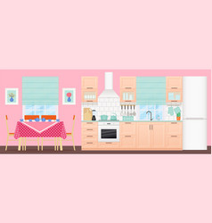 kitchen interior with dining area flat design vector image