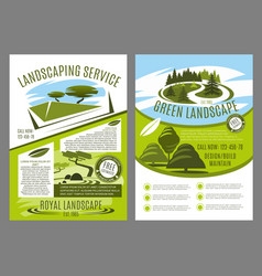 Landscaping and gardening service business poster vector