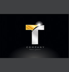 Letter t alphabet with gold silver grey metal on vector