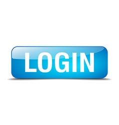Login blue square 3d realistic isolated web button vector
