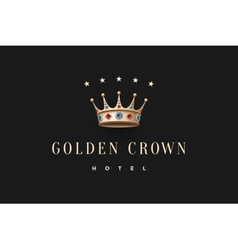 Logo with gold king crown diamond and inscription vector