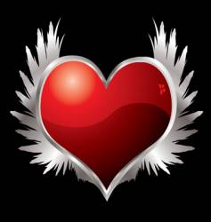 Love heart wings vector