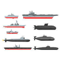 Naval combat ships set military boats ships vector