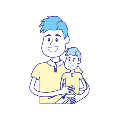 Nice father carrying his son in the hands vector