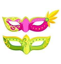Party masks in pink and green colors vector image