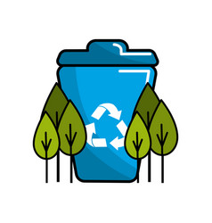 People reciclying in the basket icon vector