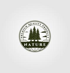 Pine tree emblem design vintage spruce badge vector