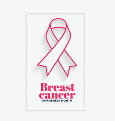 Pink line ribbon breast cancer awareness month vector