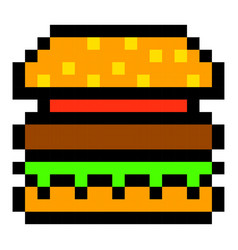 Pixel burger hamburger art cartoon retro game vector
