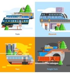 Rail Transport 2x2 Design Concept vector