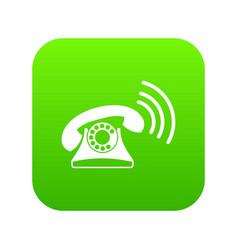 retro phone icon digital green vector image