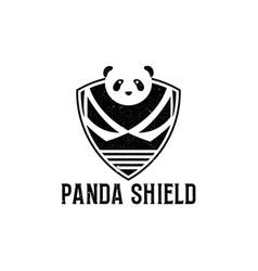 Rustic black panda shield logo design vintage vector