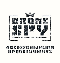 Sanserif stencil plate font and drone store emblem vector