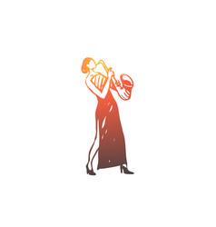 saxophone classic music woman concert concept vector image