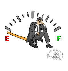 Serious businessman sitting on fuel gauge sign vector
