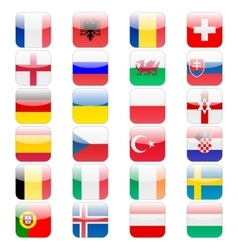 Set of 24 soccer balls icons flags of the vector