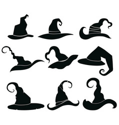 set of hats of witches collection of headdresses vector image