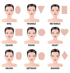 Set of nine different womans face shapes vector