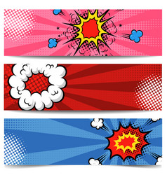 set of pop art style banners comic style flyers vector image
