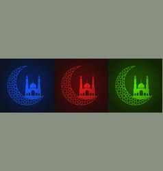 Set of ramadan cards vector
