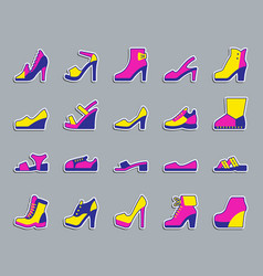Shoes patch sticker icons set vector