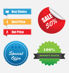 shopping stickers labels sale icons set vector image