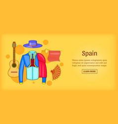 Spain banner horizontal corrida cartoon style vector