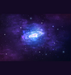 Spiral galaxy in space nebula stardust universe vector