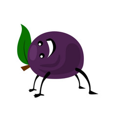 Sport plum character funny fruit food on vector