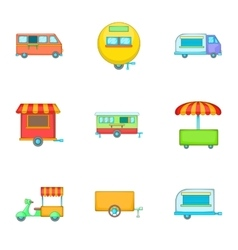 Street food icons set cartoon style vector