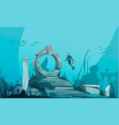 sunken atlantis cartoon poster vector image