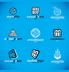 technology innovation logos set of abstract vector image