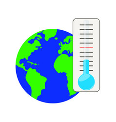 thermometer against the background of the planet vector image