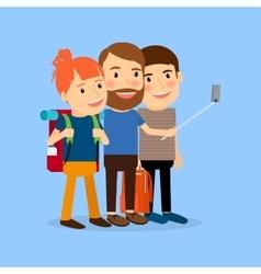 Traveling family make selfie vector