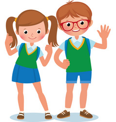 Two students of elementary school child vector