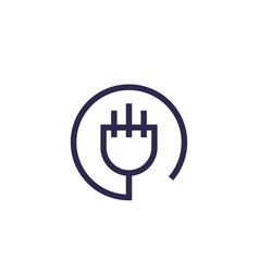 Uk electric plug icon linear design vector