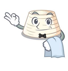 waiter italian ricotta cheese on mascot cartoon vector image