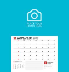 Wall calendar planner for 2019 year november vector