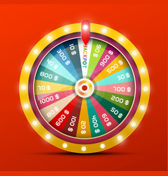 wheel of fortune with jackpot win vector image
