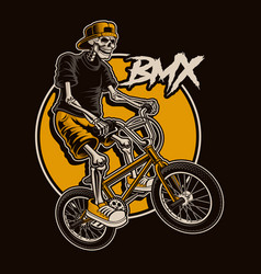 With a skeleton is jumping on bmx bike vector