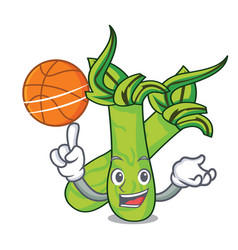 With basketball wasabi character cartoon style vector