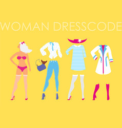 Women dress code romantic style on vector
